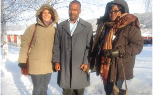 Senior Assistant Commissioner Muchemwa of the ZRP, Helena Koumi of SwedePeace and Esther Kaitano, Head of Finance ZPSP attend the Folke Bernadotte course in Sweden, February 2013