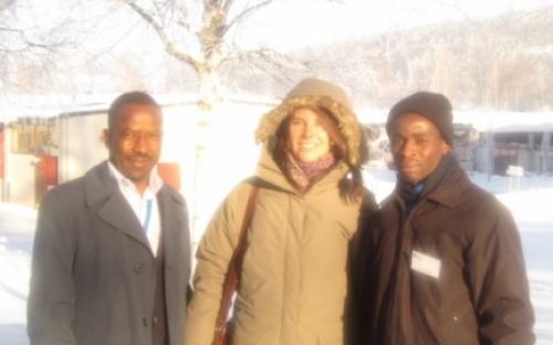 Senior Assistant Commissioner Muchemwa of the ZRP, Helena Koumi of SwedePeace and Mark Kachinga, President's Office attend the Folke Bernadotte Course in Sweden, February 2013